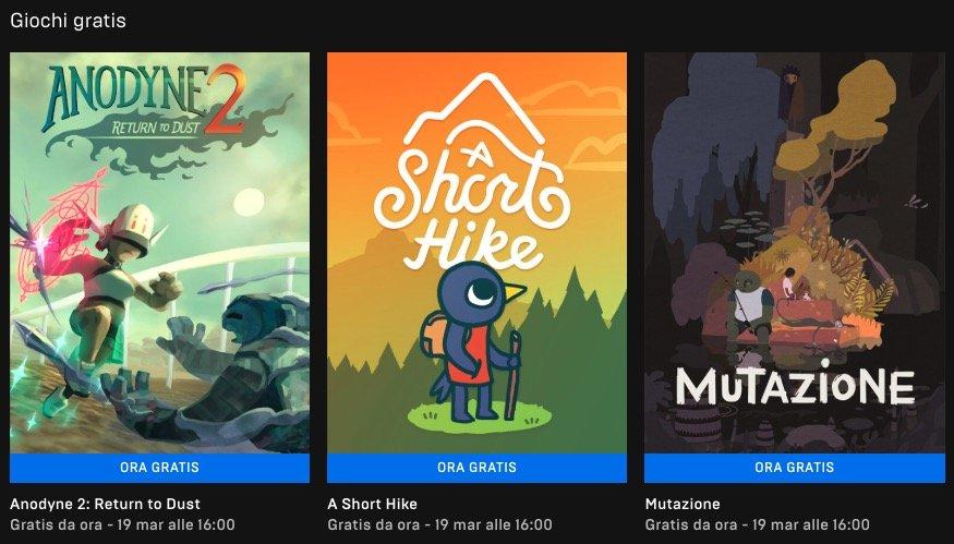 Epic Store giochi gratis 12 Marzo