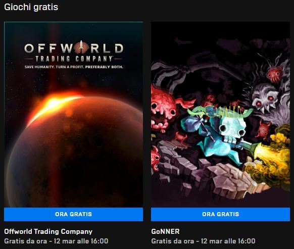 Epic games giochi gratis 7-12 marzo